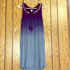 A Blue Ombré Sundress with an Embroidered Neckline